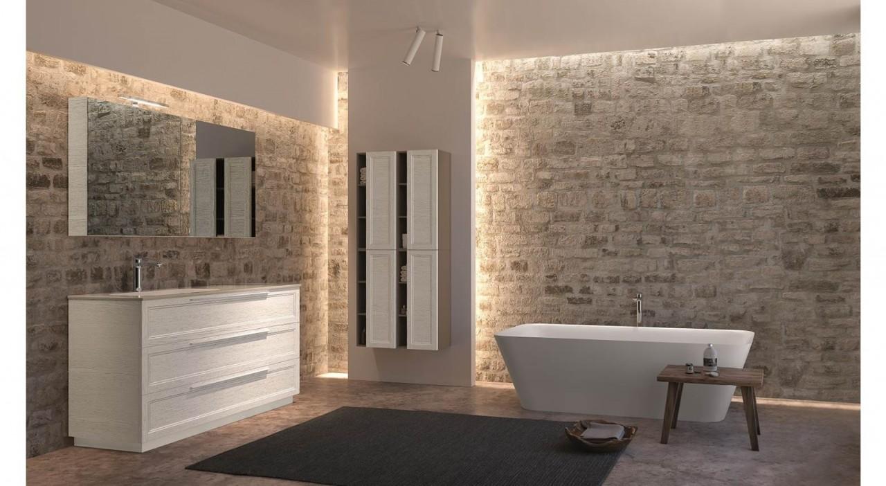 Offerta mobile bagno classico decapè sara in stile retrò con top